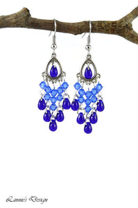 Chandelier Earrings Antiqued Silver Teardrop Clip Ons No Piercing Crystal Beads