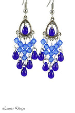 Load image into Gallery viewer, Chandelier Earrings Antiqued Silver Teardrop Clip Ons No Piercing Crystal Beads