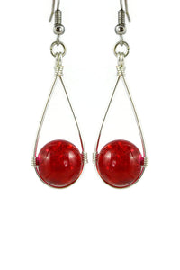 Red Hanging Crackle Bead Teardrop Dangling Earrings