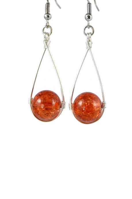 Orange Hanging Crackle Bead Teardrop Dangling Earrings