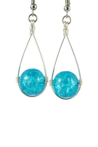 Turquoise Blue Hanging Crackle Bead Teardrop Dangling Earrings
