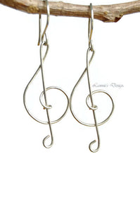 Sterling silver Treble Clef Wire Dangle Earrings