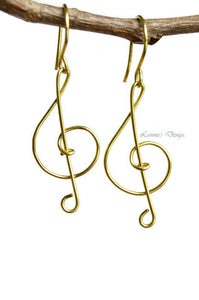 14K Gold-Filled Treble Clef Wire Dangle Earrings