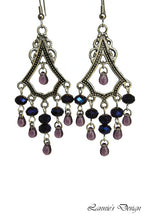 Load image into Gallery viewer, Chandelier Earrings Antiqued Silver Triangle No Piercing Clip Ons Glass Beads
