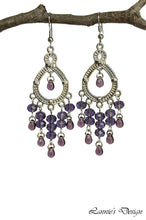 Load image into Gallery viewer, Chandelier Earrings Silver Horse Shoe Teardrop Clip Ons No Piercing