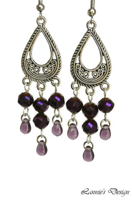 Chandelier Earrings Teardrop Antiqued Silver Clip Ons No Piercing Twisted Round Beads