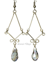 Celtic Teardrop Dangling Earrings Delicate Wire Crystal Beads