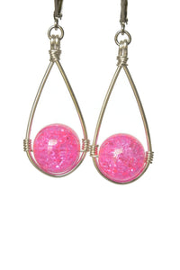 Light Pink Hanging Crackle Bead Teardrop Dangling Earrings