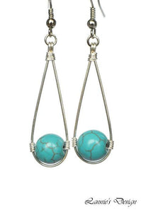 Turquoise Hanging Bead Teardrop Dangling Earrings