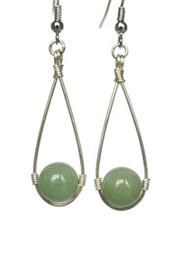 Green Hanging Bead Teardrop Dangling Earrings