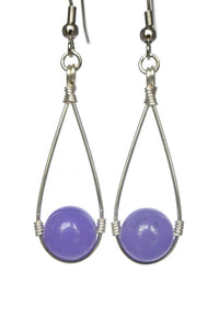 Purple Hanging Bead Teardrop Dangling Earrings