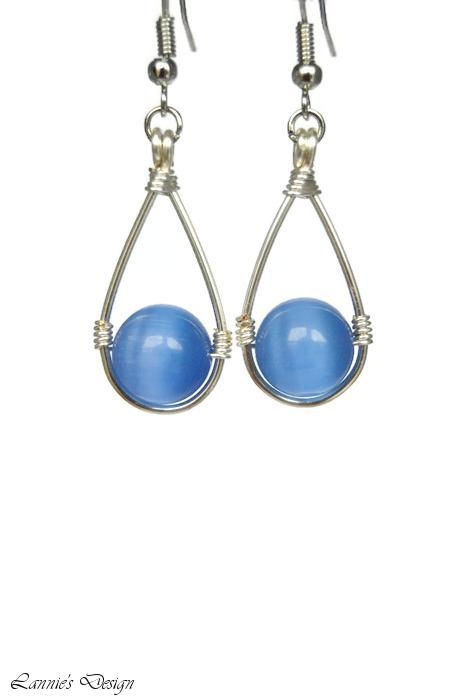 Blue Hanging Bead Teardrop Dangling Earrings
