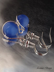 Blue Hanging Bead Swan Dangling Earrings