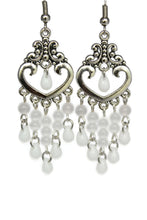 Load image into Gallery viewer, Chandelier Earrings Antiqued Silver Heart No Piercing Clip Ons Cat's Eye Beads