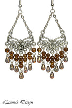 Load image into Gallery viewer, Brown Chandelier Earrings Antiqued Silver Smooth Chevron Flower Clip Ons No Piercing