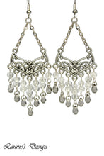 Load image into Gallery viewer, Gray Chandelier Earrings Antiqued Silver Smooth Chevron Flower Clip Ons No Piercing