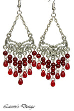 Load image into Gallery viewer, Red Chandelier Earrings Antiqued Silver Smooth Chevron Flower Clip Ons No Piercing