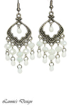 Load image into Gallery viewer, Chandelier Earrings Antiqued Silver Fan Clip Ons No Piercing Howlite Beads