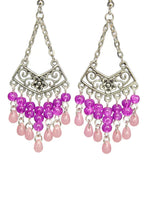 Load image into Gallery viewer, Pink Chandelier Earrings Antiqued Silver Chevron Flower Clip Ons No Piercing