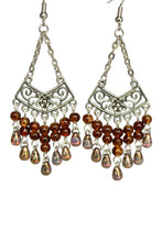 Load image into Gallery viewer, Brown Chandelier Earrings Antiqued Silver Chevron Flower Clip Ons No Piercing