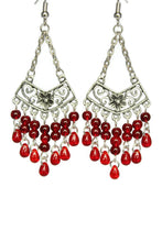 Load image into Gallery viewer, Red Chandelier Earrings Antiqued Silver Chevron Flower Clip Ons No Piercing