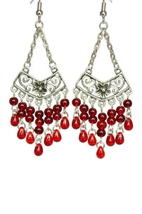 Red Chandelier Earrings Antiqued Silver Chevron Flower Clip Ons No Piercing
