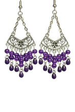 Load image into Gallery viewer, Purple Chandelier Earrings Antiqued Silver Chevron Flower Clip Ons No Piercing