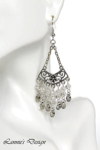 Gray Chandelier Earrings Antiqued Silver Chevron Flower Clip Ons No Piercing