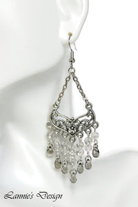 Gray Chandelier Earrings Antiqued Silver Smooth Chevron Flower Clip Ons No Piercing