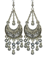 Load image into Gallery viewer, Silver Chandelier Earrings Antiqued Silver Half Moon Clip Ons No Piercing