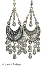 Load image into Gallery viewer, Chandelier Earrings Antiqued Silver Half Moon Clip Ons No Piercing Glass Beads