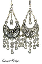 Load image into Gallery viewer, Gray Chandelier Earrings Antiqued Silver Half Moon Clip Ons No Piercing