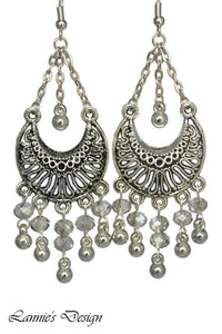 Gray Chandelier Earrings Antiqued Silver Half Moon Clip Ons No Piercing