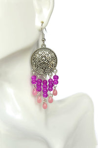 Chandelier Earrings Antiqued Silver Convex Disc Clip Ons No Piercing Crackle Beads