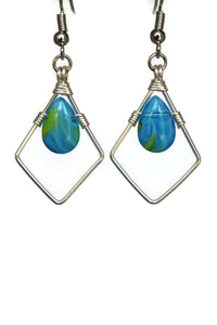 Blue Diamond Kite Teardrop Dangling Earrings Wire Wrapped