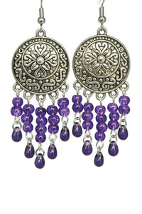 Purple Chandelier Earrings Antiqued Silver Convex Disc Crackle Beads