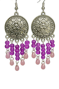 Fuchsia Pink Chandelier Earrings Antiqued Silver Convex Disc Crackle Beads