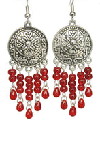 Load image into Gallery viewer, Red Chandelier Earrings Antiqued Silver Convex Disc Crackle Beads