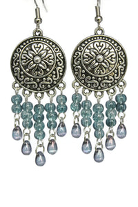 Stone Blue Chandelier Earrings Antiqued Silver Convex Disc Crackle Beads