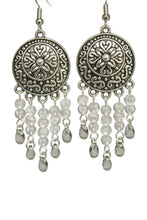 Load image into Gallery viewer, Gray Chandelier Earrings Antiqued Silver Convex Disc Crackle Beads