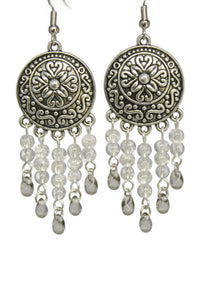 Gray Chandelier Earrings Antiqued Silver Convex Disc Crackle Beads