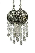 Load image into Gallery viewer, Chandelier Earrings Antiqued Silver Convex Disc Clip Ons No Piercing Crackle Beads