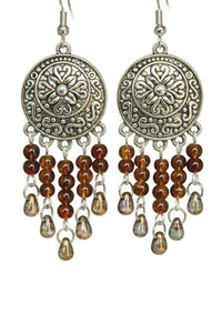 Brown Chandelier Earrings Antiqued Silver Convex Disc Crackle Beads