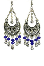 Load image into Gallery viewer, Blue Chandelier Earrings Antiqued Silver Half Moon Clip Ons No Piercing