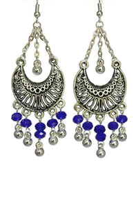 Blue Chandelier Earrings Antiqued Silver Half Moon Clip Ons No Piercing