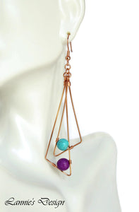 Double Triangle Dangling Earrings Hanging Beads Wire Wrapped Boho Chic