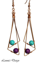 Load image into Gallery viewer, Double Triangle Dangling Earrings Hanging Beads Wire Wrapped Boho Chic