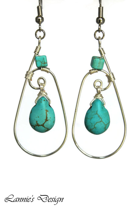 Silver Turquoise Teardrop Wire Wrapped Earrings