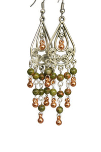 Chandelier Earrings Antiqued Silver Copper Teardrop Clip Ons No Piercing Unakite Beads