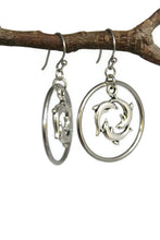 Load image into Gallery viewer, Circling Dolphins Hoop Dangle Earrings